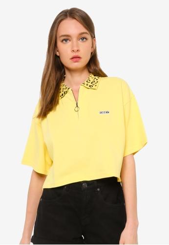 OBEY yellow Liana Cropped Polo Top EAB9FAAD2477DAGS_1
