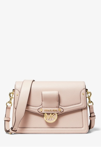 MICHAEL KORS pink Michael Kors Jessie Medium Pebbled Leather Shoulder Bag - Soft Pink 6412FAC4A8A8B5GS_1
