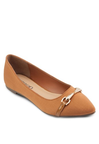 金飾尖頭esprit sg平底鞋, 女鞋, 鞋