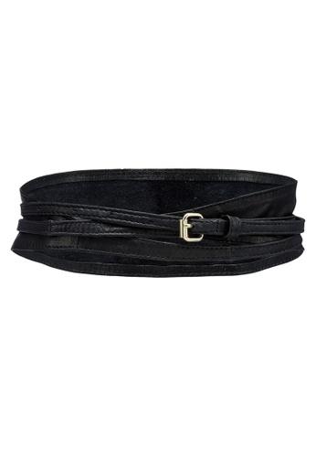 Pieces black Vibs New Leather Tie Waist Belt 79EADAC6838C1EGS_1