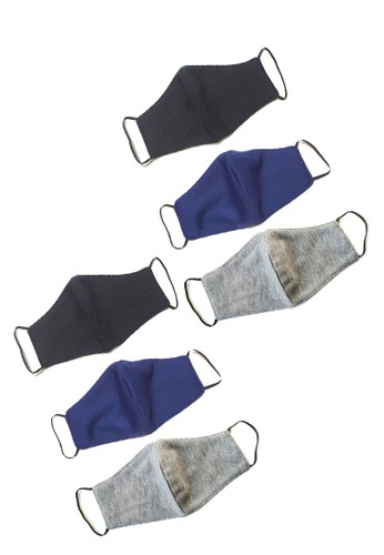 San Marco black and grey and navy 6 in 1 Premium 3 ply Cotton  Mask Black, Navy & Light Grey EB7EAESF75D55BGS_1