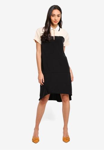 Sisley black Contrasting Dress. 004CFAAD0525CAGS_1