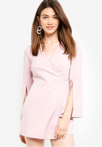Something Borrowed pink Slit Sleeves Wrap Romper D650CAA8EB7388GS_1