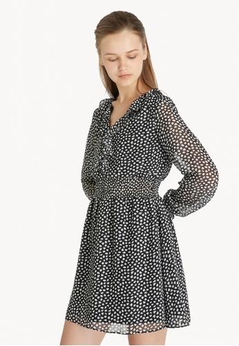Pomelo black Ruffle Smock Waist Speckled Dress - Black C33BBAA9C61854GS_1