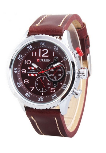 curren red and silver Curren 8179 Men's Leather Strap Watch (Silver Red) CU537AC17SZEMY_1