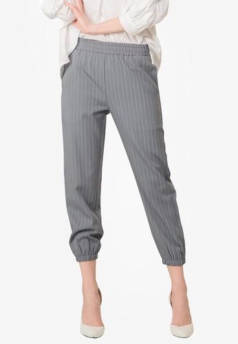 Kodz grey Striped Ankle Pants A8C07AA961B219GS_1