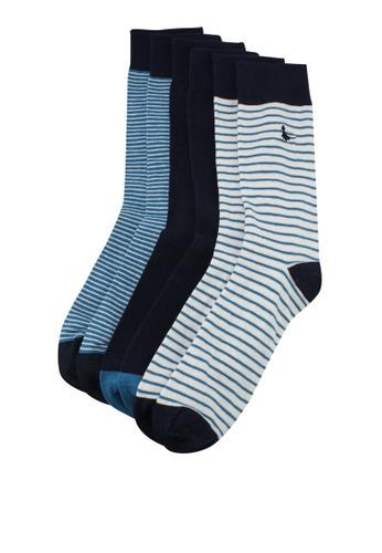 Jack Wills navy Killerby Solid Stripe 3pk Socks 0E4B6AA9BB3E8EGS_1