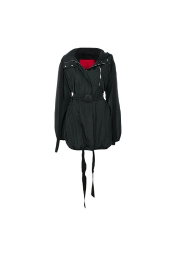 Moncler black Moncler Gamme Rouge Belted Nylon Hooded Jacket in Black B5E91AA4062371GS_1