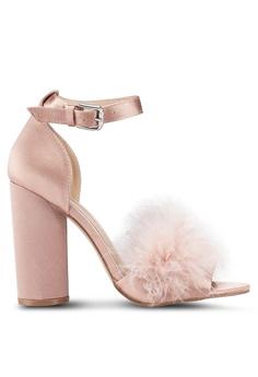 d531d71b93d Miss Selfridge pink Hennie Feather Black Heels 68F68SHF09F48EGS 1