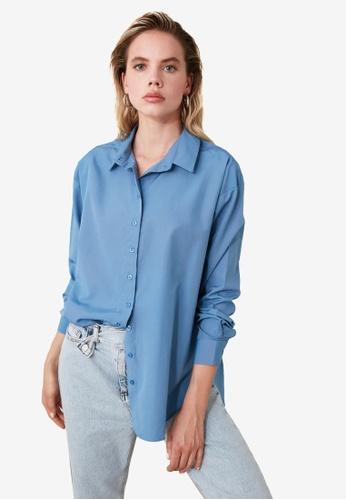Trendyol blue Loose Fit Shirt D4A88AA9D00540GS_1
