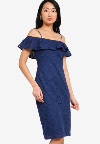 ZALORA BASICS navy Cold Shoulder Dress 26D00AAA70D216GS_1