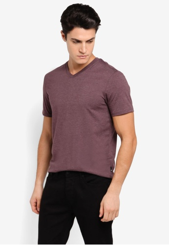Burton Menswear London purple Raisin Marl V-Neck T-Shirt BU964AA0T1HLMY_1