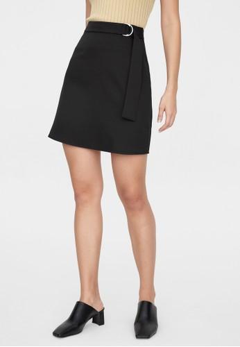 Pomelo black Belted High Waist Skirt - Black 01374AA7427415GS_1
