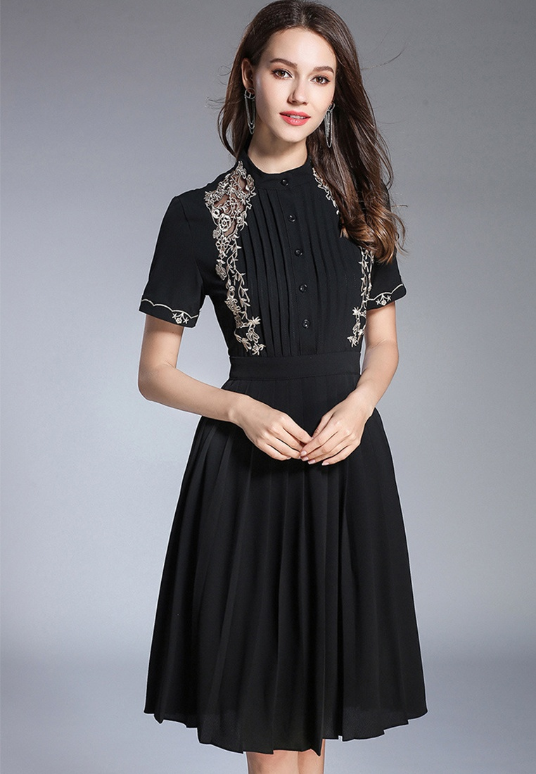 Sunnydaysweety Black Pleated CA071864BK New Black Piece 2018 Dress One q0yEvwq8