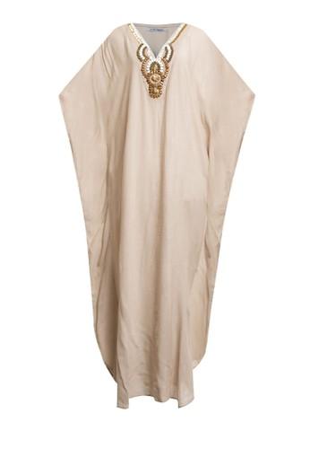 Chic Simple beige Wooden Beaded Crinkle Cotton Kaftan B5BA5AA2DAA831GS_1