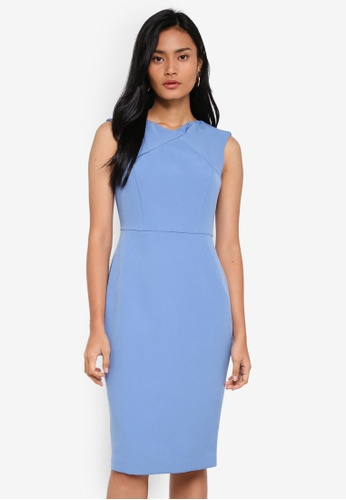 Dorothy Perkins blue Bluebell Fold Neck Dress 2DE01AA9A9AC63GS_1