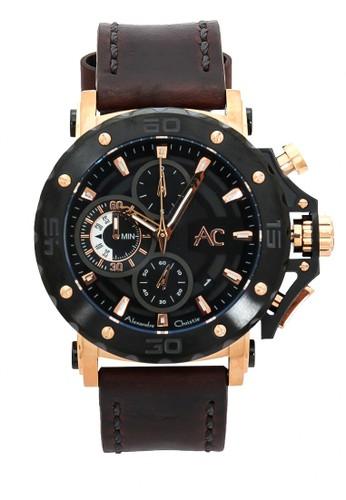 Alexandre Christie brown Alexandre Christie Jam Tangan Pria - Brown Rosegold Black - Leather Strap - 9205 MCLBRBA 11EF2AC87E2F02GS_1