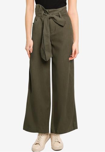 GAP grey V-Linen Wide Leg Solid Pants 69E51AA4BA4E0AGS_1