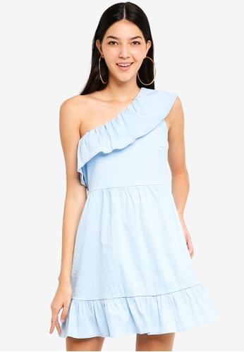 Vero Moda blue Sia One Shoulder Frill Short Dress 9A112AAE40E4D0GS_1