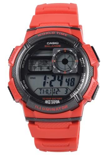 CASIO red Casio - Jam Tangan Pria - Red - Resin Strap - AE-1000W-4AVDF DC431ACEB8CED0GS_1
