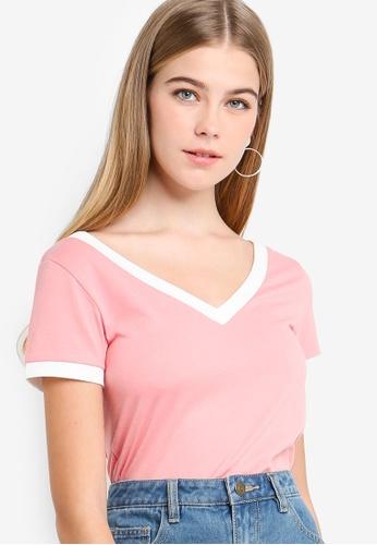 Something Borrowed pink Contrast Binding V-Neck Top C9EE3AA4809176GS_1