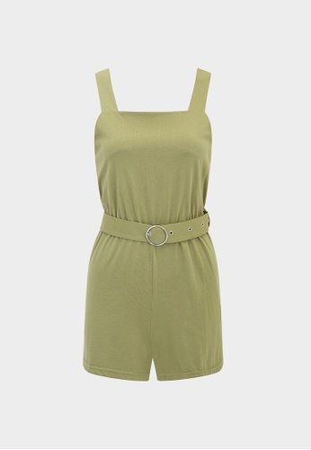 Pomelo green Square Neck Belted Romper - Olive 12A7BAA5592DC1GS_1