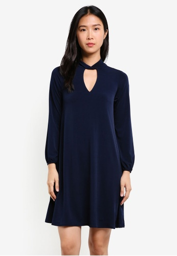 Wallis navy Petite Twist Neck Dress WA800AA0SHK9MY_1