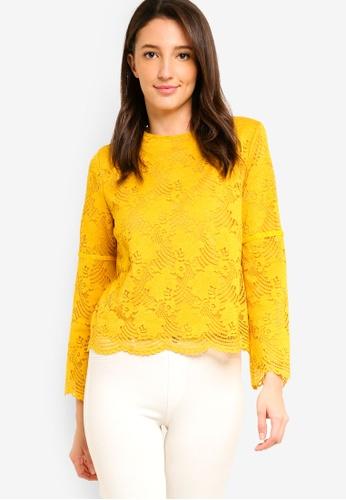 Zalia yellow Lace Cape Top with Velvet Trim 548EEAA847190EGS_1