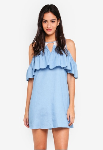 Something Borrowed blue Lace Panel Cold Shoulder Dress CE381AA2DF3569GS_1