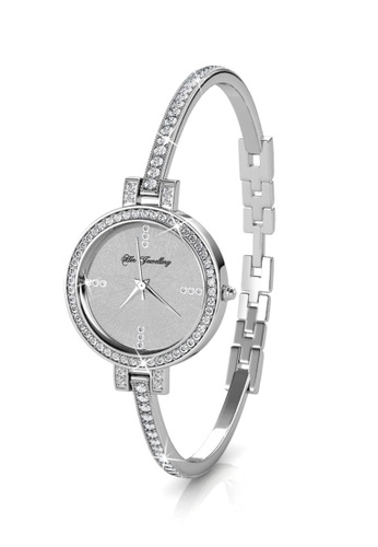 Her Jewellery silver Her Jewellery Bangle Watch (White Gold) embellished with Crystals from Swarovski 124A3AC4B0D233GS_1