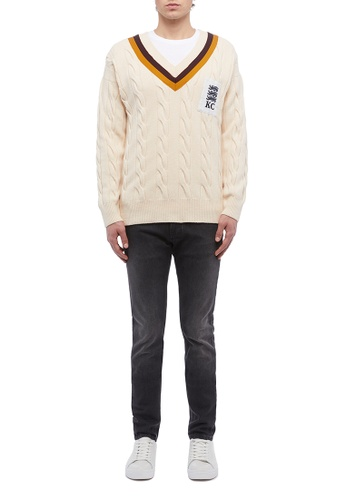 5242b31d631 Buy Kent and Curwen Navy cable-knit cricket jumper Online on ZALORA ...