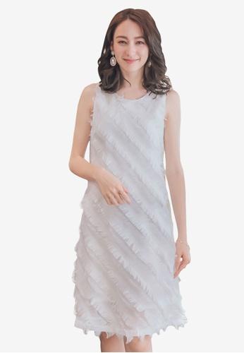 Yoco white Eyelash Shift Dress 50DBCAA47C7841GS_1