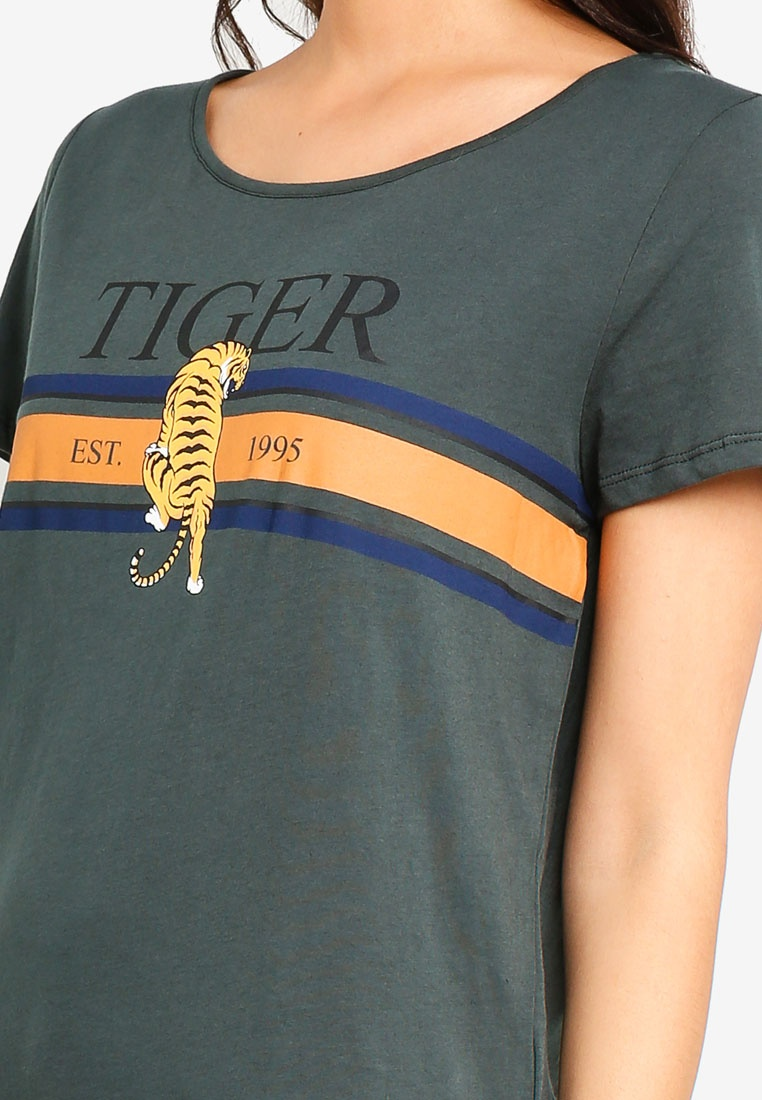 Tiger Gables Top Green Loose Charlie Print ONLY Tq10T