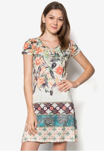 Amatista 印花V 領連身裙, 服飾, zalora 內衣服飾