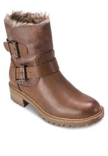 Aria 仿esprit門市地址毛內襯扣環踝靴, 女鞋, 鞋
