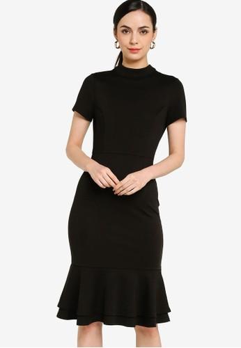 ZALORA WORK black Short Sleeves Fluted Hem Dress ADE0CAA6899072GS_1
