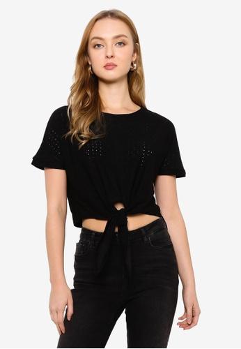 Brave Soul black Jacquard Tie Front Jersey T-Shirt 6FBB6AA1D8739CGS_1