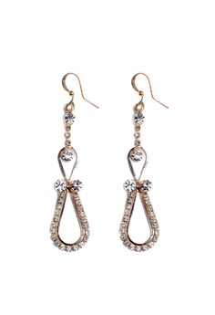 Clique Fashion Night Glam Loop Crystals Dangling Earrings