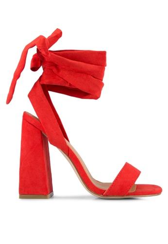 Public Desire red Honesty Wrap Around Heeled Sandals PU378SH0S9O8MY_1