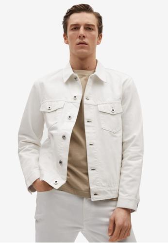 MANGO Man white White Denim Jacket B0A76AA34242E9GS_1