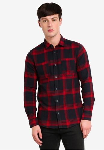 Only & Sons 紅色 格紋長袖襯衫 C2809AAE477DF3GS_1