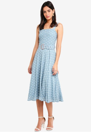 MDSCollections blue Flared Midi Dress In Ash Blue Polka Dots 49528AAB562954GS_1
