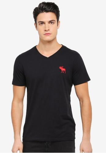 Abercrombie & Fitch black Brand Icon Vneck T-Shirt AB423AA0SV03MY_1