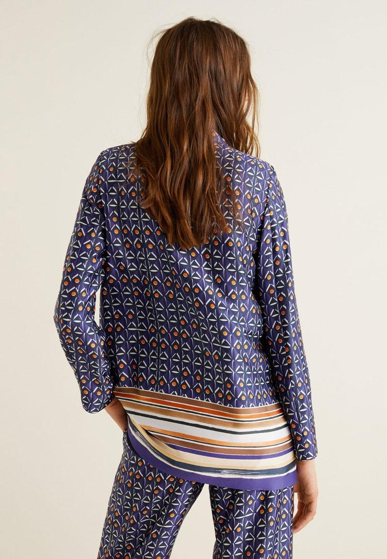 Mango Medium Blue Print Combined Blazer HqwpW7
