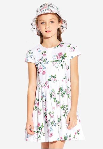 FILA pink FILA KIDS Rhinestone F-box Logo Floral Print Dress 8-15yrs AE570KAE48A151GS_1