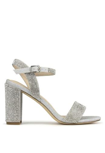 Betts silver Sherbet Diamante Block Heel Sandals 7A6AFSH332F5BBGS_1