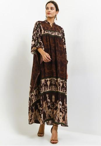 Kamilaa by Itang Yunasz brown Kaftan Etnik 81F0AAA1DE6073GS_1