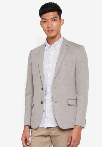 Burton Menswear London green Khaki Pique Jersey Blazer EC133AAB0E28F3GS_1