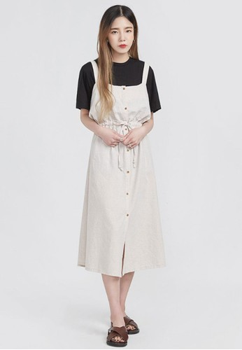 抽esprit台灣網頁繩繫帶亞麻連衣裙, 服飾, 洋裝