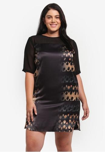 ELVI black Plus Size Black Printed Dress EL779AA0T1P7MY_1